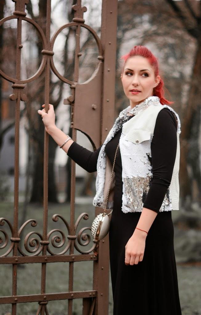 leather sequin vest