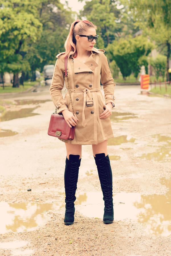 knee high boots coat