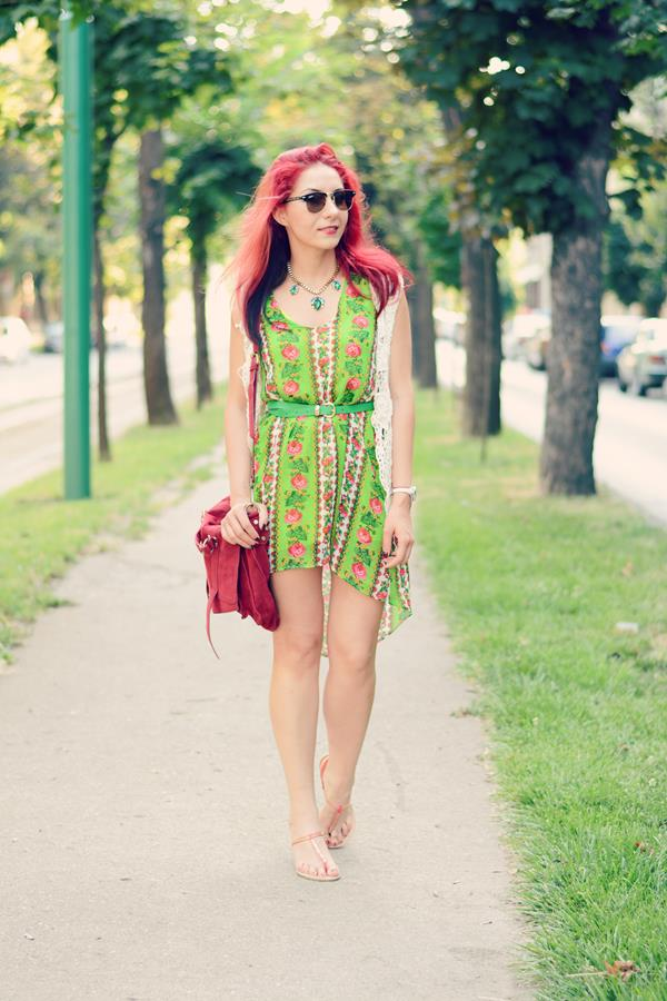 green print dress