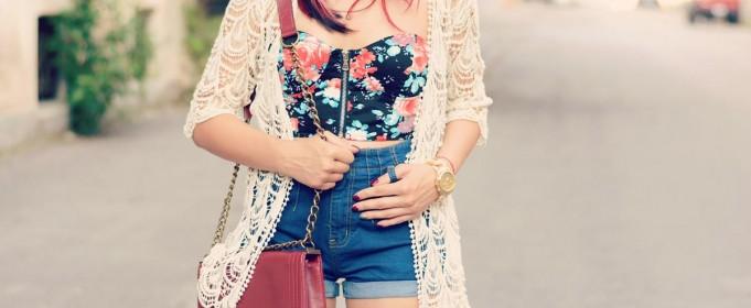 lace mix denim outfit