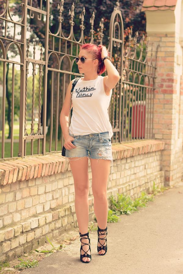 shorts white top