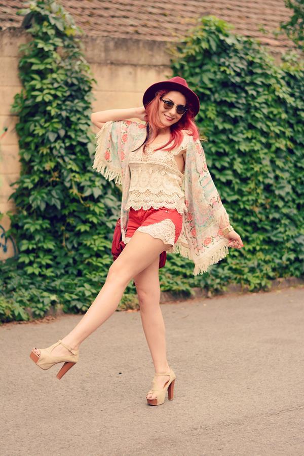 lace shorts kimono