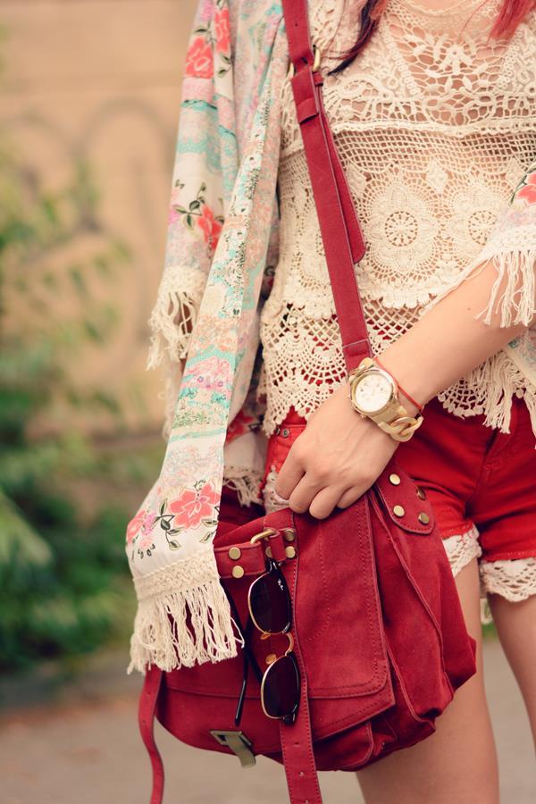 lace shorts kimono fringes