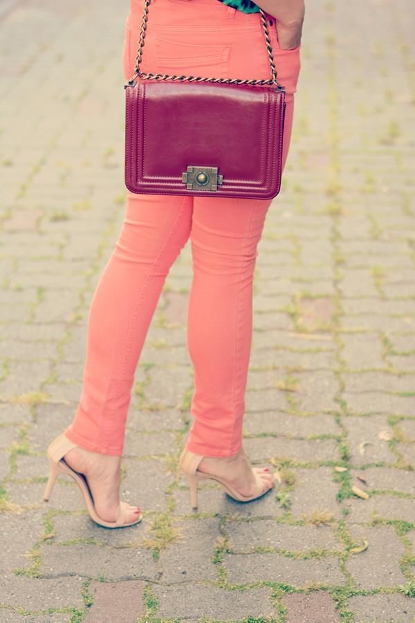 peach jeans nude heels zara