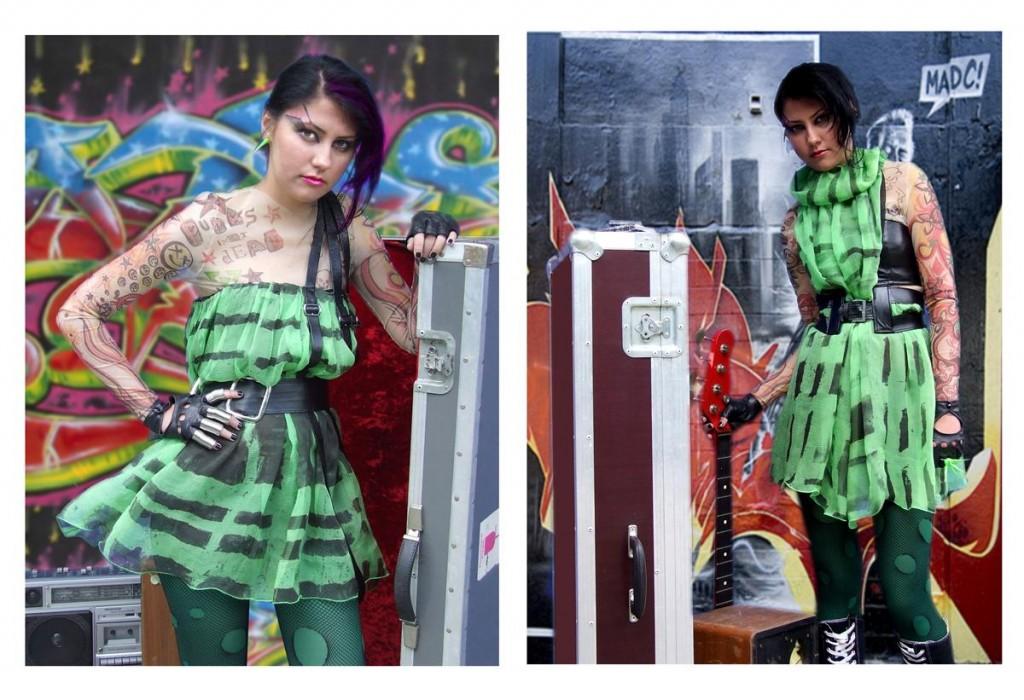 punk silk dress leather