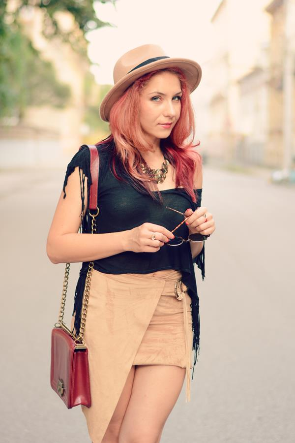 asymetric suede skirt