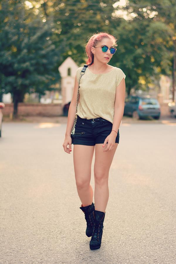 black jeans gold top