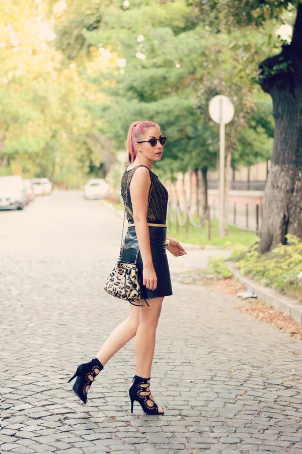 leopard mango bag mixed leather skirt