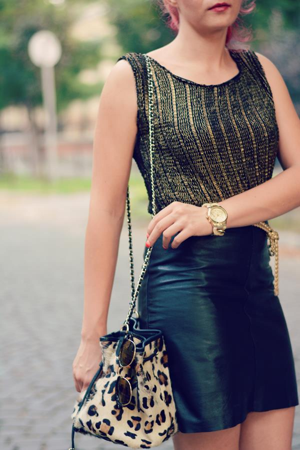gold top leather skirt
