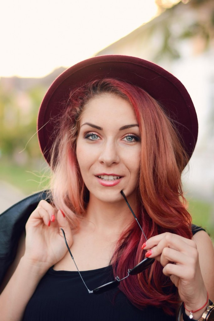 red ombre hair look
