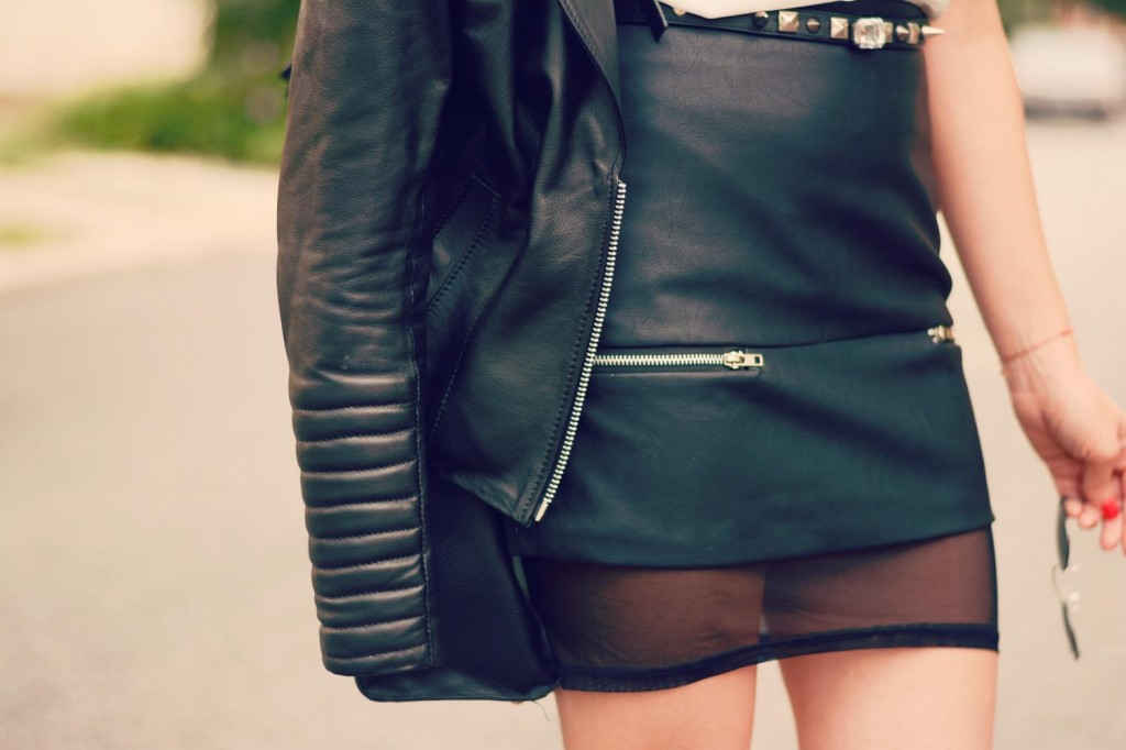 padded biker jacket mesh skirt