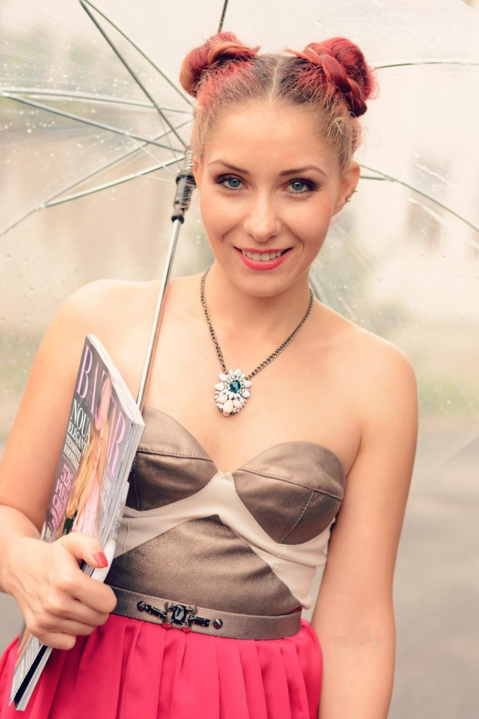 metallic leather dress fucsia blogger