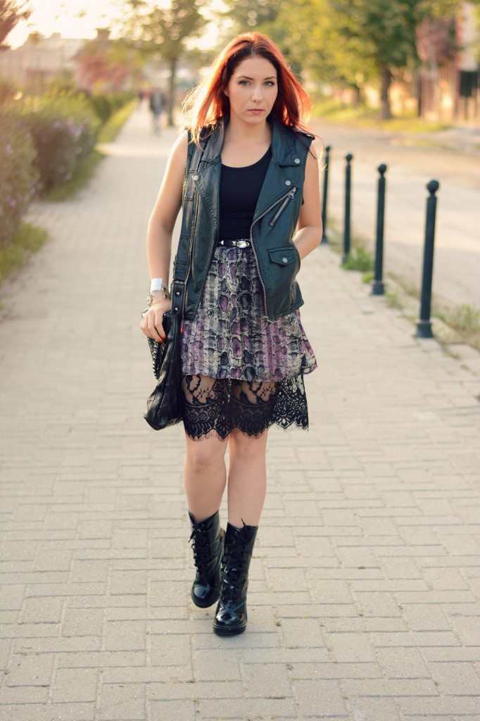 snake print chiffon lace skirt