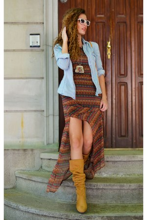mustard-faux-leather-unknown-brand-boots-burnt-orange-maxi-dress-bershka-dress
