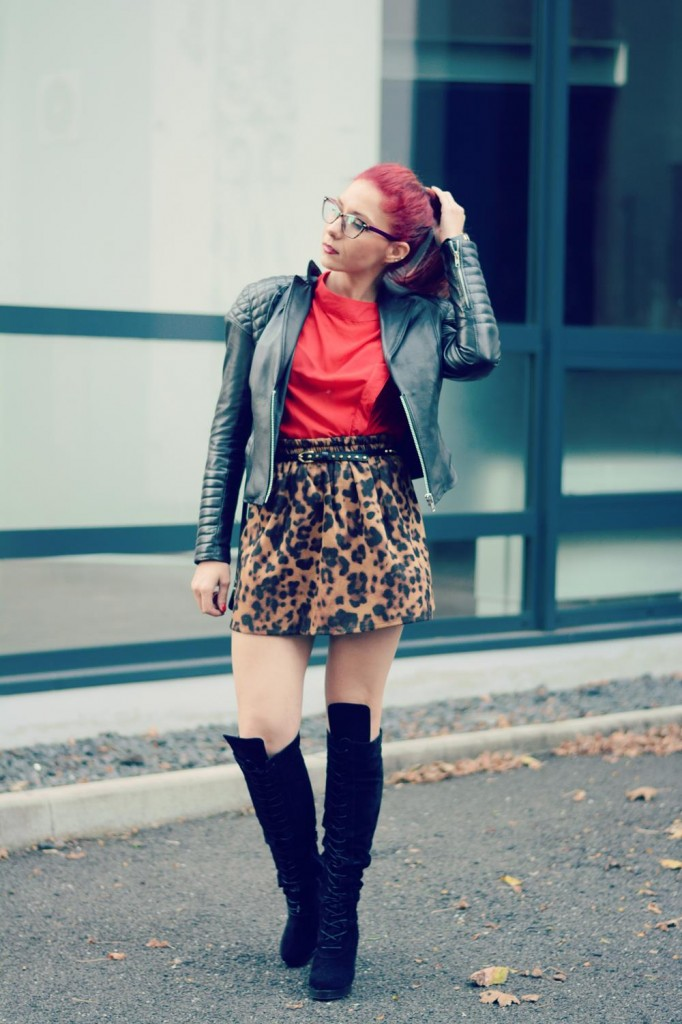 leather jacket red shirt