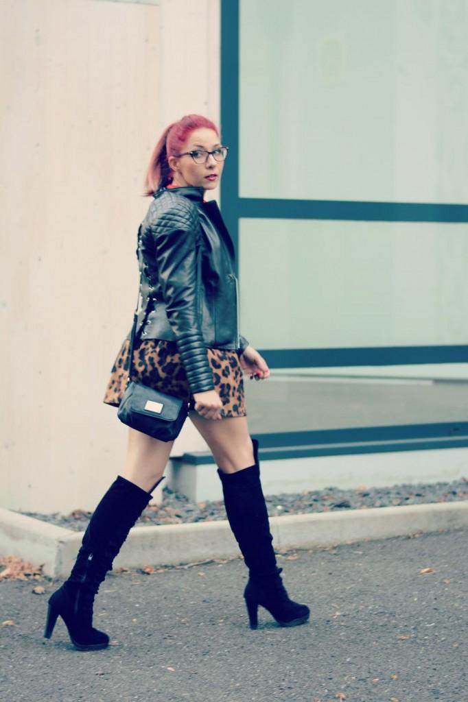 leather jacket-leopard print skirt