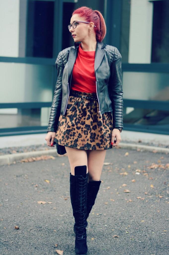 animal print skirt red shirt