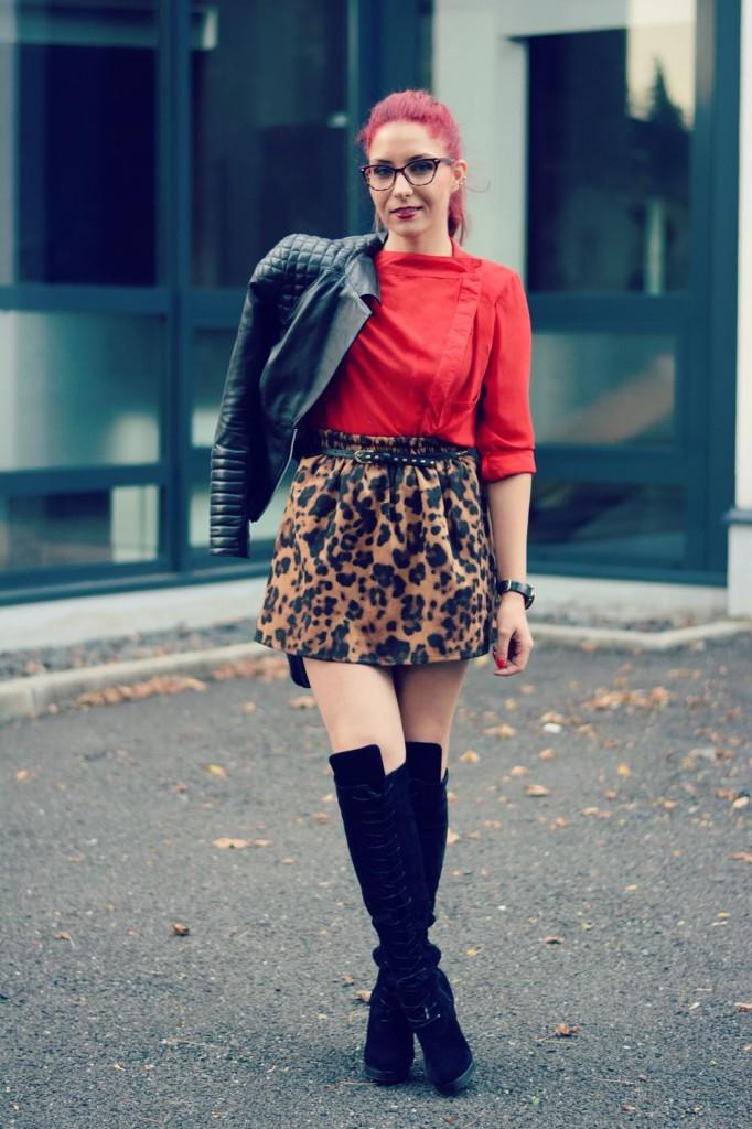 knee high boots animal print skirt