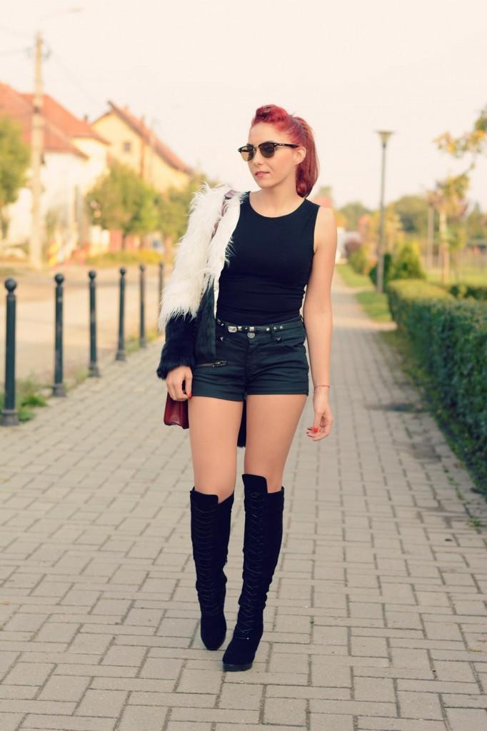 fur coat and shorts