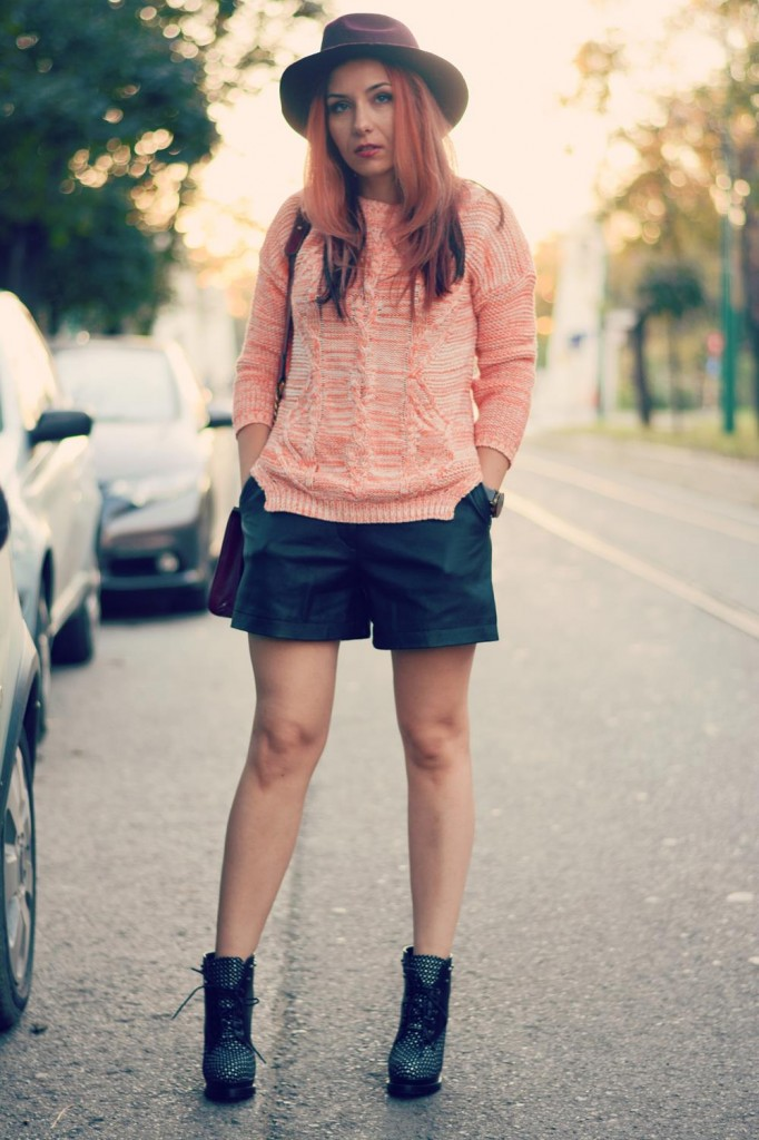 leather shorts knitted jumper