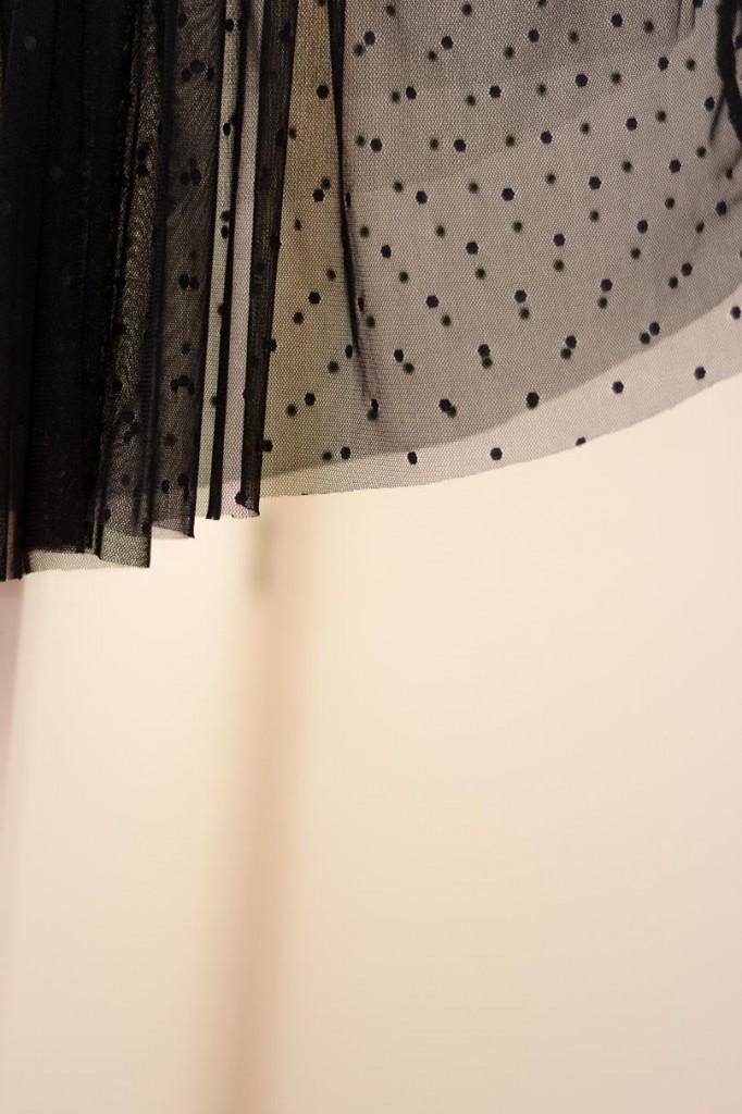 dotted chiffon black skirt