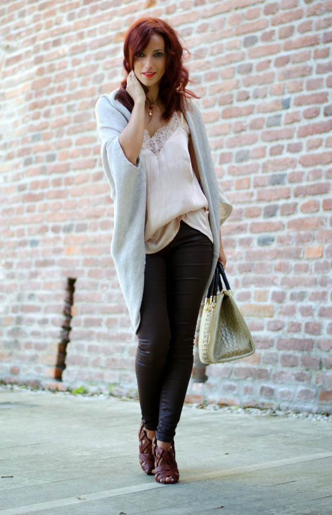 lace top knit cardigan