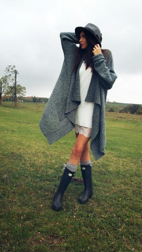 lace dress warm sweater rain boots
