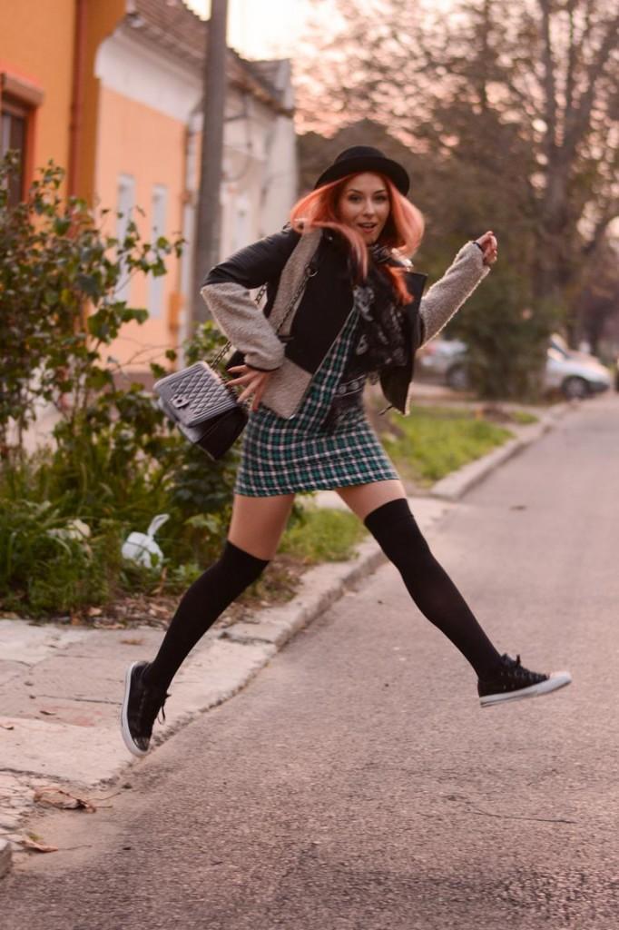 jumping school girl fashion