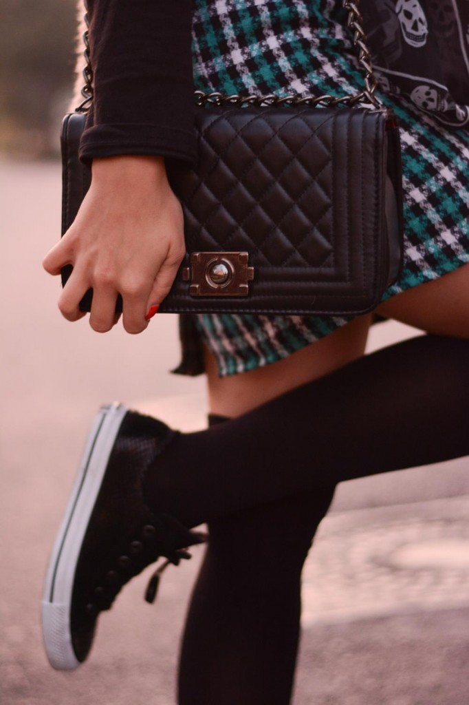 quilted black chain bag