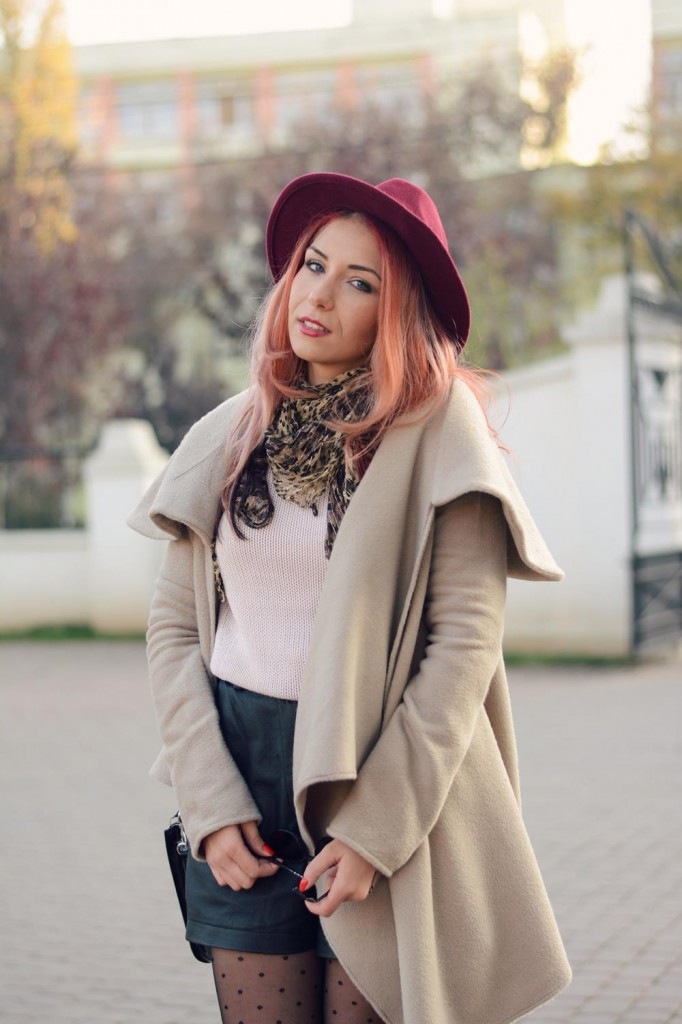 The classic coat red hat blogger winter