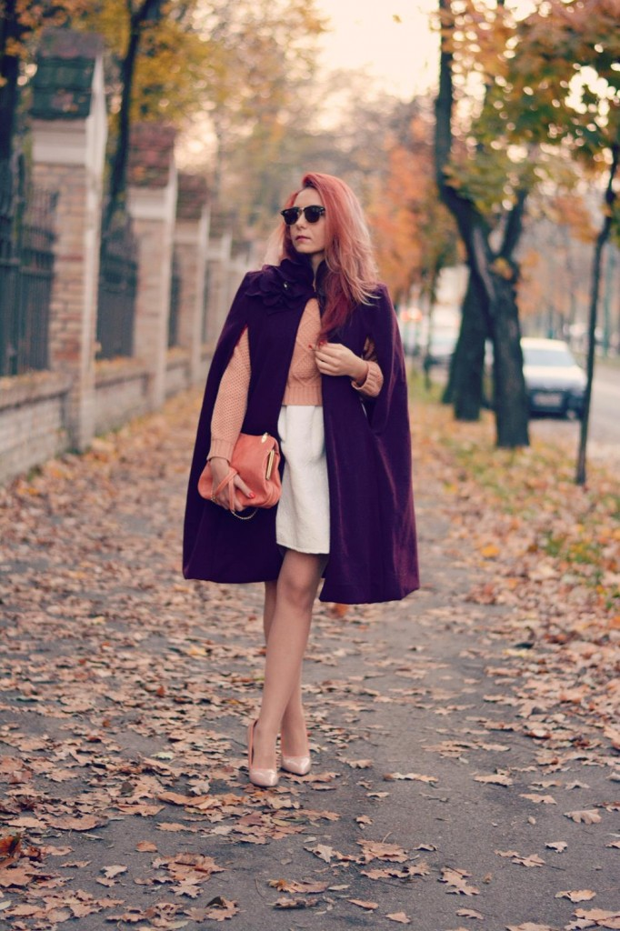 Nudes and hues burgundy cape