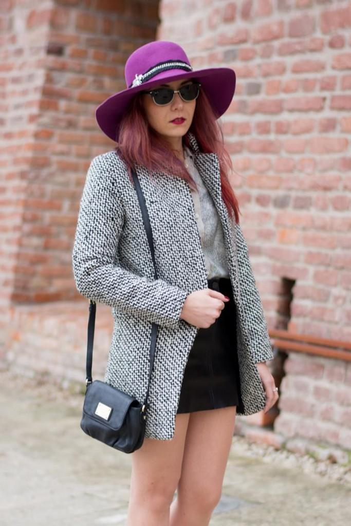 gray coat diy purple hat