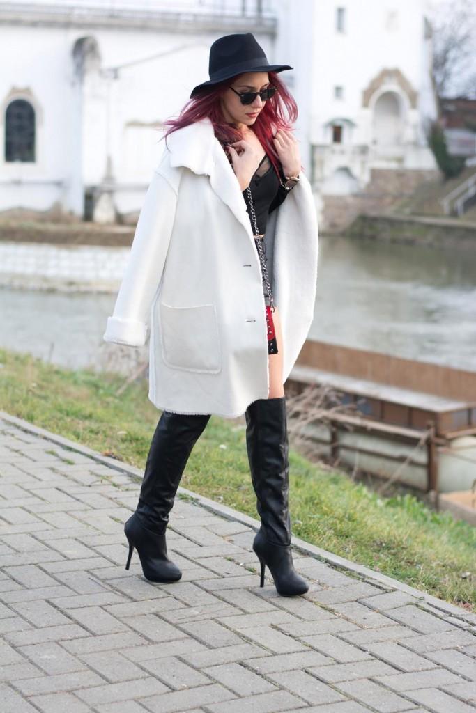 white fur coat leather shorts