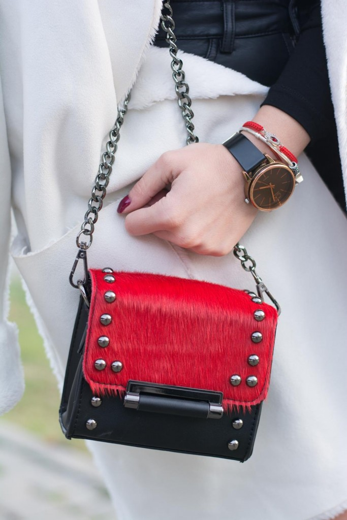 ck watch gold red horsehair bag
