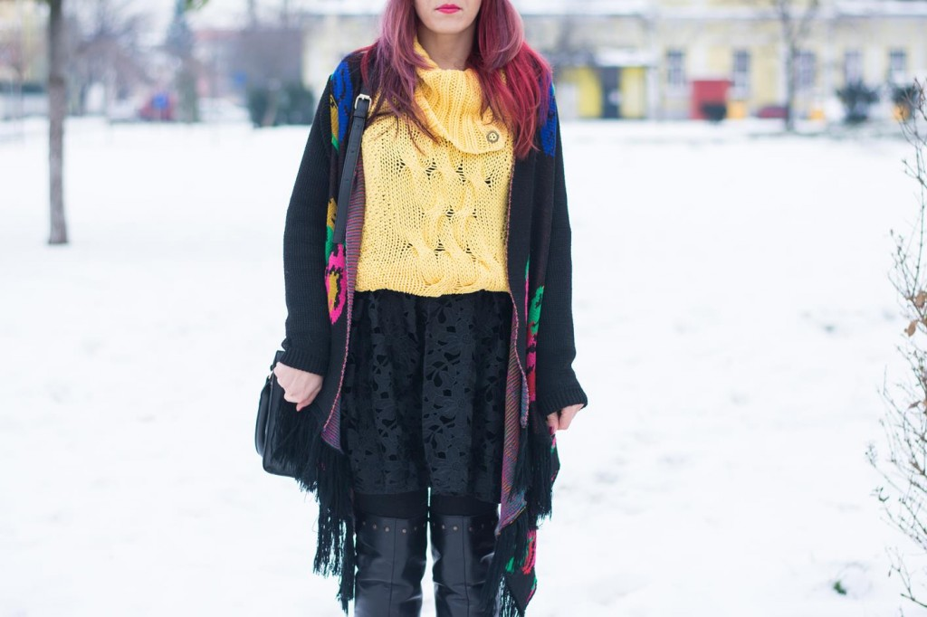 lace knits winter look