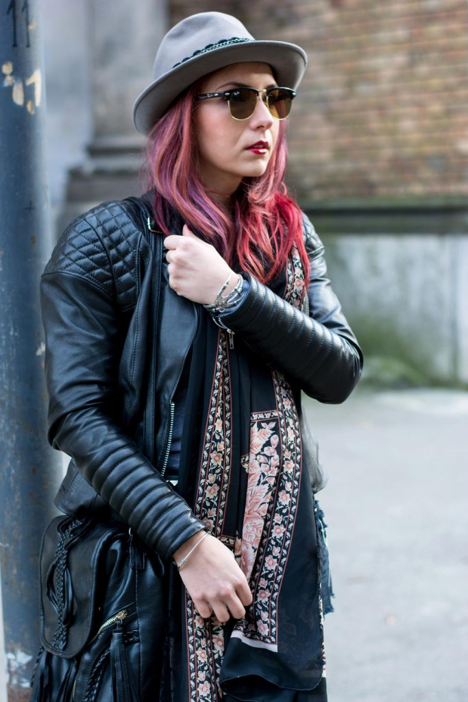 distressed shorts leather jacket hippie inspired