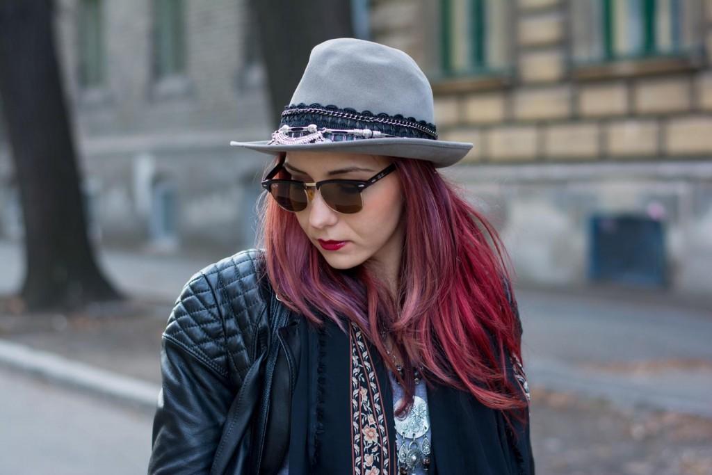 embellished grey hat