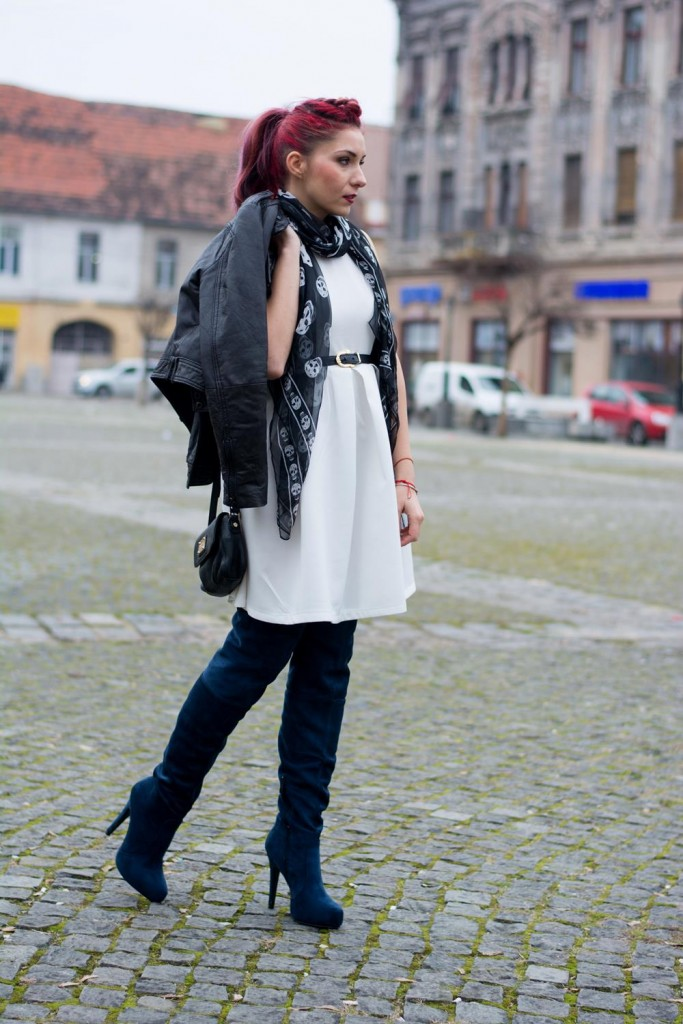 white puff dress knee high boots