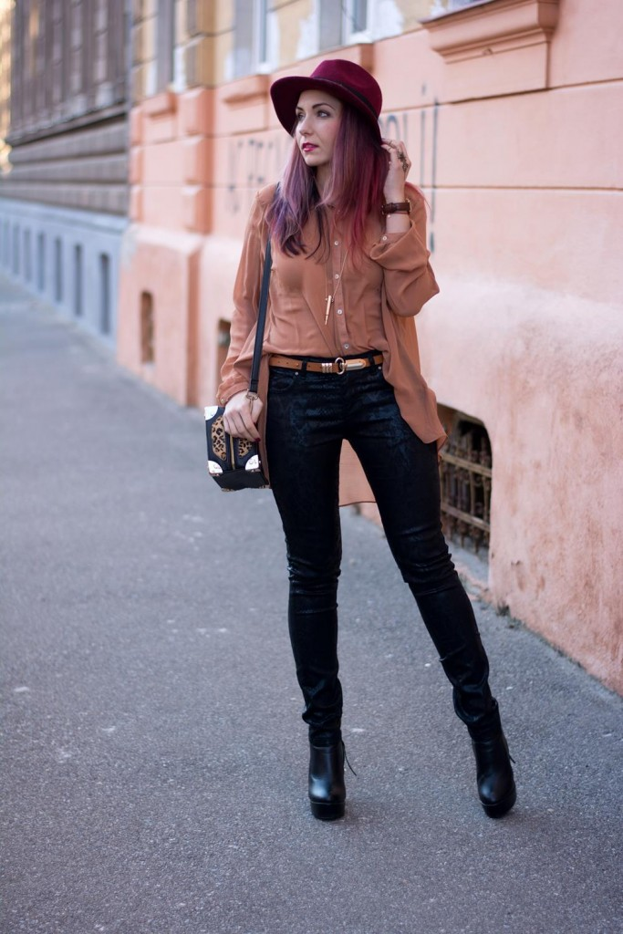 snake print jeans and chiffon top