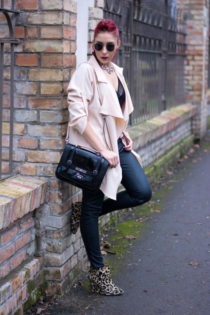 beige waterfall coat leather pants