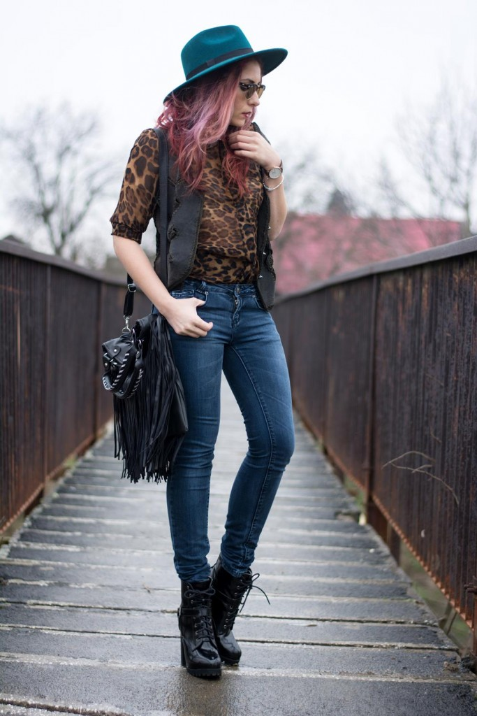 leopard shirt tassel bag