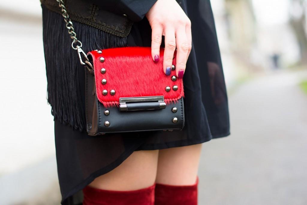 red black bag