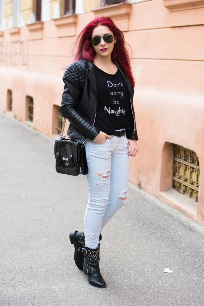 urban chic look leather ripped jeans