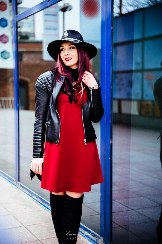 red and black lace dress leather