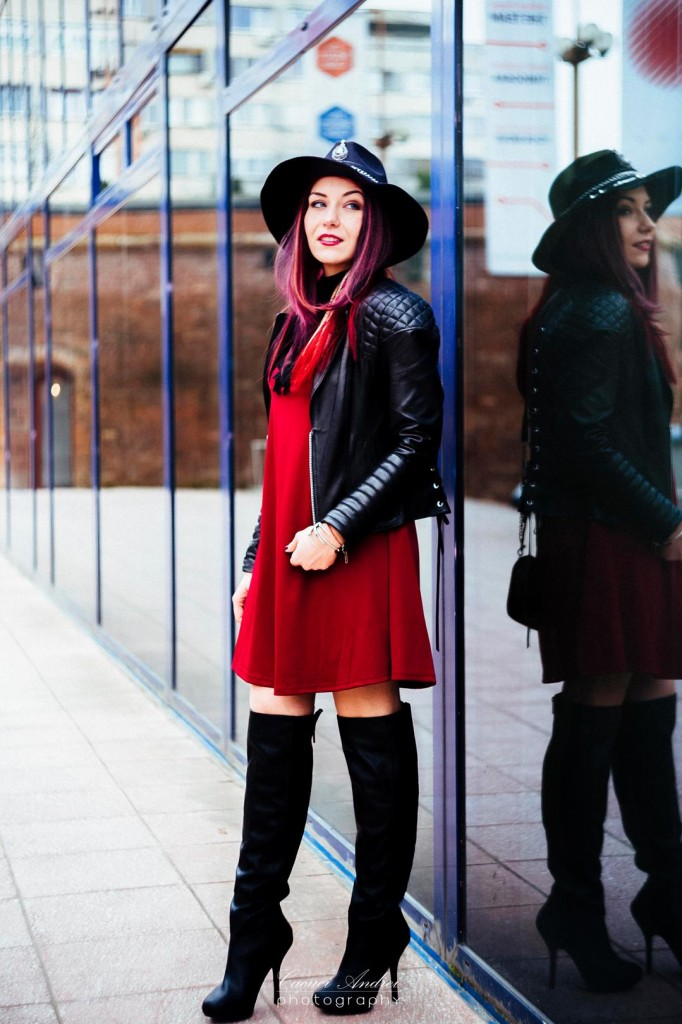 over the knee boots red dress hat