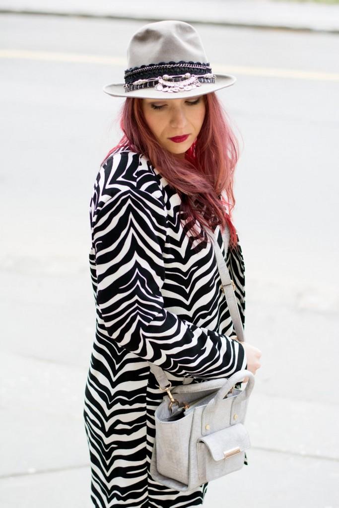 gray embellished hat