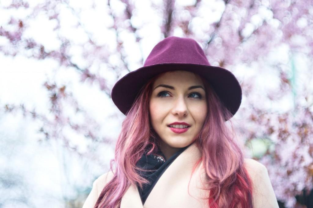 cherry blossom  marsala hat
