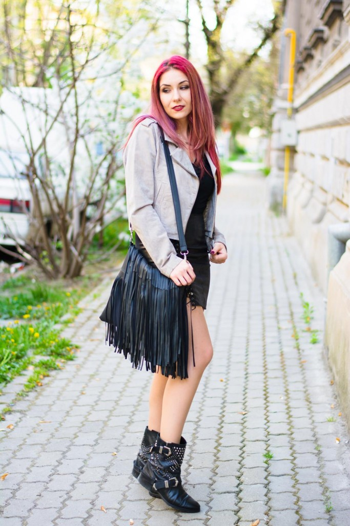 gray leather jacket silver skirt