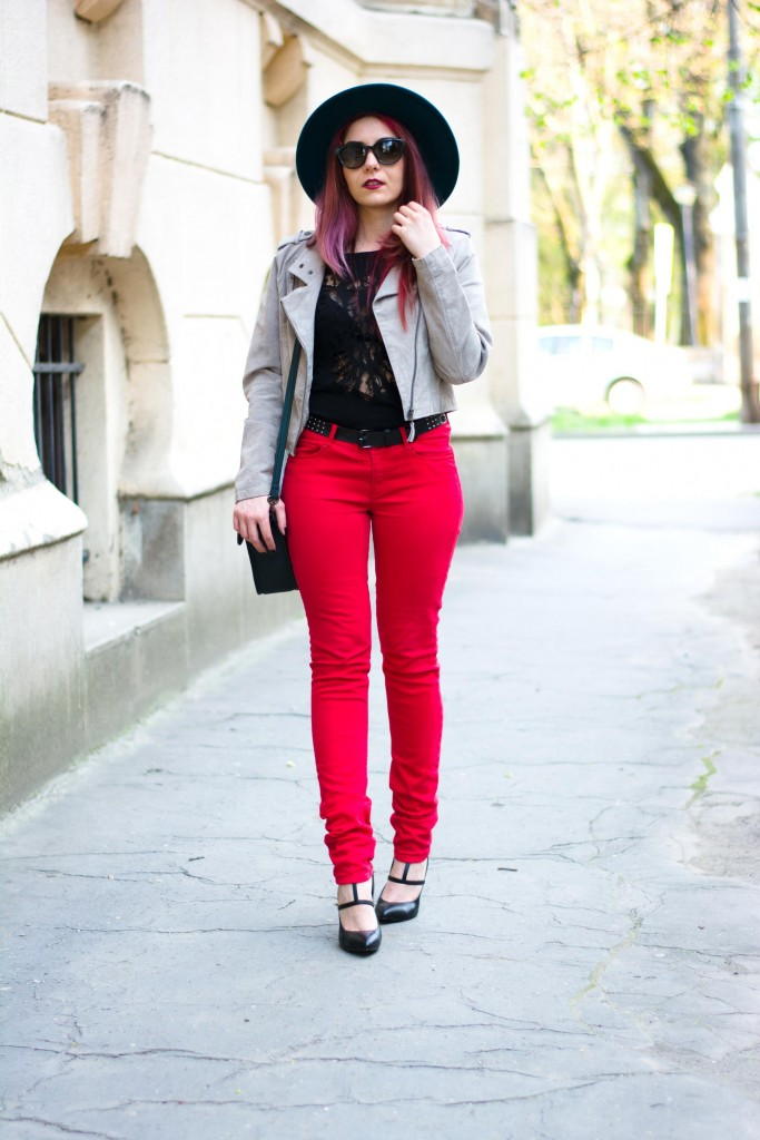 wearing red jeans