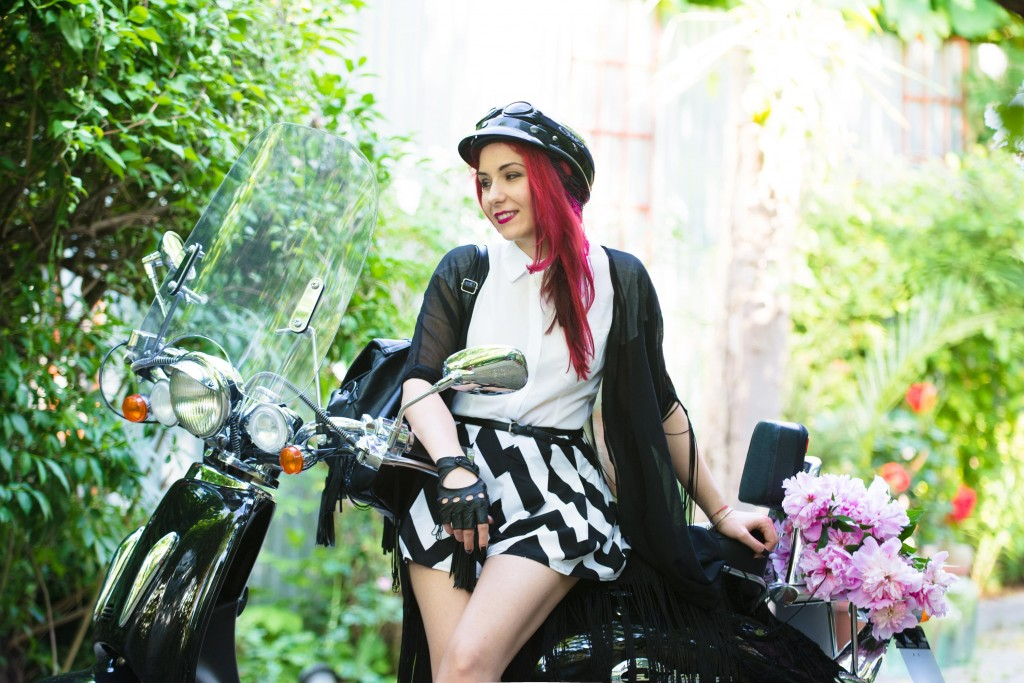 black and white scooter look